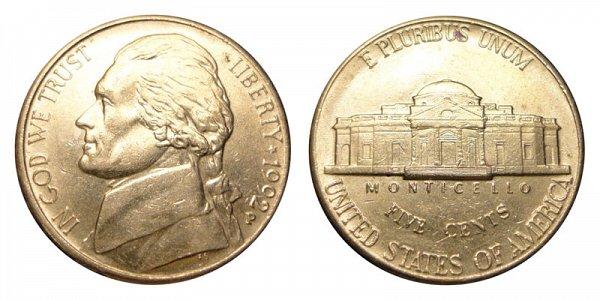 1992 P Jefferson Nickel