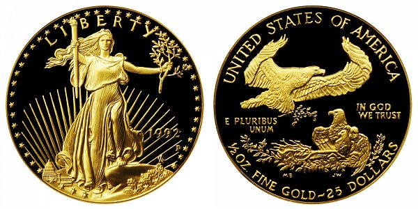 1992 P Proof Half Ounce American Gold Eagle - 1/2 oz Gold $25