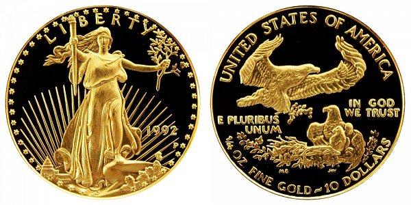 1992 P Proof Quarter Ounce American Gold Eagle - 1/4 oz Gold $10
