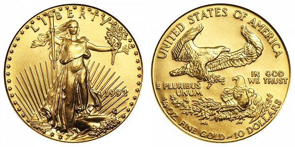 1992 Quarter Ounce American Gold Eagle - 1/4 oz Gold $10