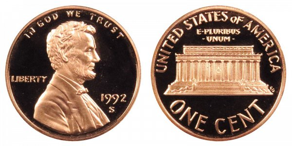 1992 S Lincoln Memorial Cent Penny Proof