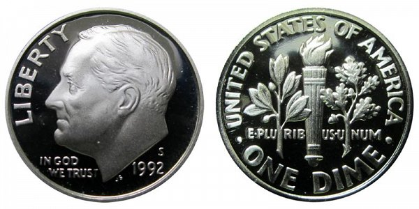 1992 S Roosevelt Dime Proof