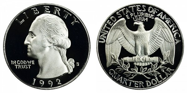 1992 S Silver Washington Quarter Proof