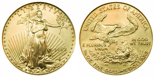 1992 Tenth Ounce American Gold Eagle - 1/10 oz Gold $5