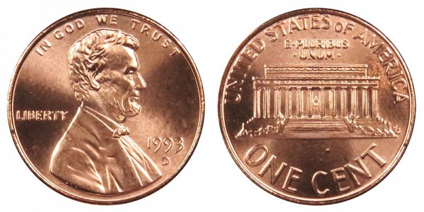 1993 D Lincoln Memorial Cent Penny