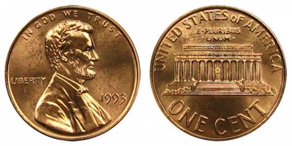1993 Lincoln Memorial Cent Penny