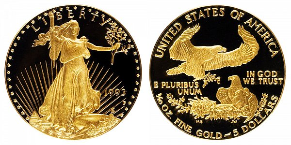 1993 P Proof Tenth Ounce American Gold Eagle - 1/10 oz Gold $5