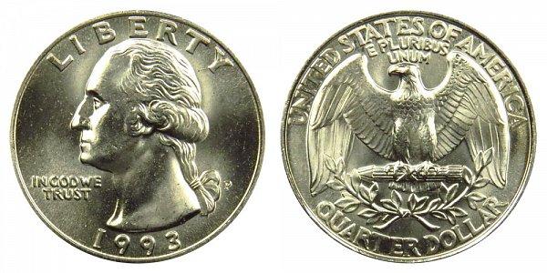 1993 P Washington Quarter