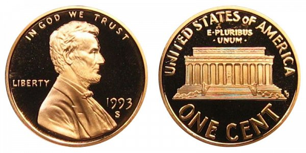 1993 S Lincoln Memorial Cent Penny Proof