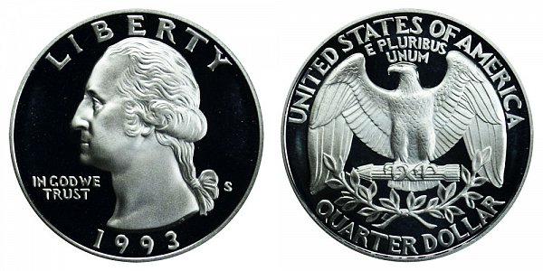 1993 S Silver Washington Quarter Proof