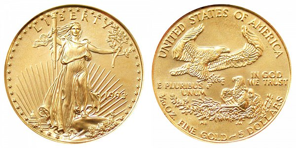 1993 Tenth Ounce American Gold Eagle - 1/10 oz Gold $5