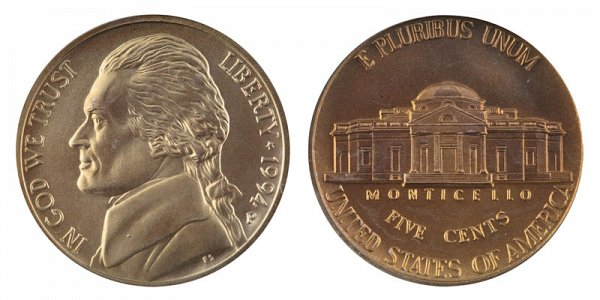 1994 P Special Frosted Matte Finish Jefferson Nickel