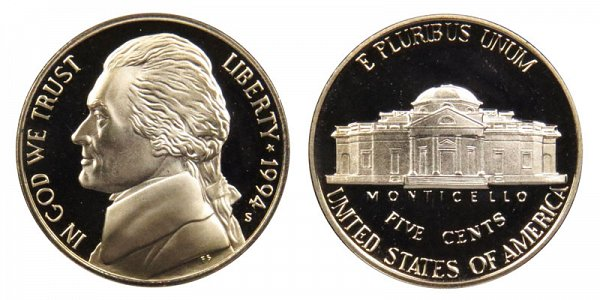 1994 S Jefferson Nickel Proof