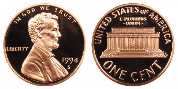 1994 S Lincoln Memorial Cent Penny Proof