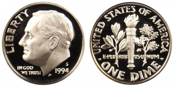 1994 S Roosevelt Dime Proof