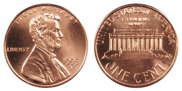 1995 D Lincoln Memorial Cent Copper Plated Zinc Penny