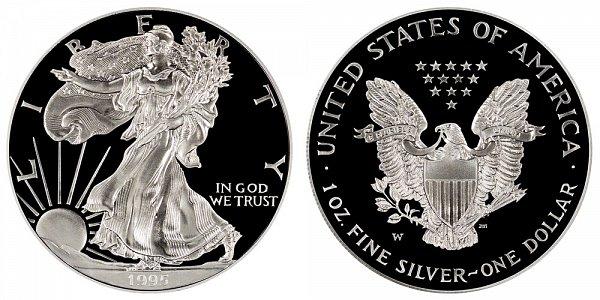 1995 W Proof American Silver Eagle - 10th Anniversary Edition