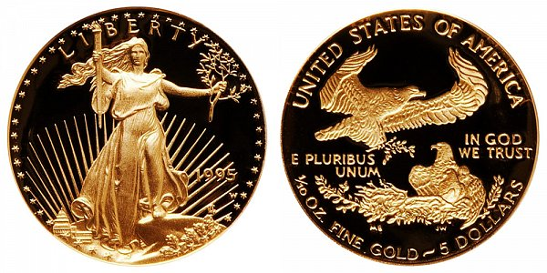 1995 W Proof Tenth Ounce American Gold Eagle - 1/10 oz Gold $5