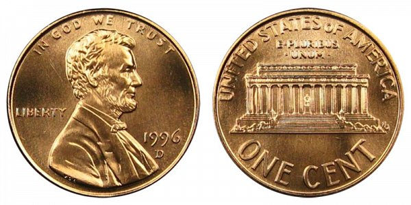 1996 D Lincoln Memorial Cent Penny