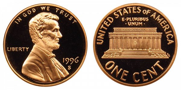 1996 S Lincoln Memorial Cent Penny Proof