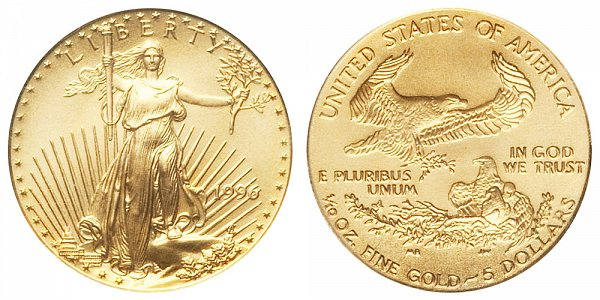 1996 Tenth Ounce American Gold Eagle - 1/10 oz Gold $5