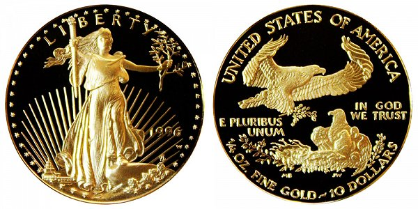 1996 W Proof Quarter Ounce American Gold Eagle - 1/4 oz Gold $10