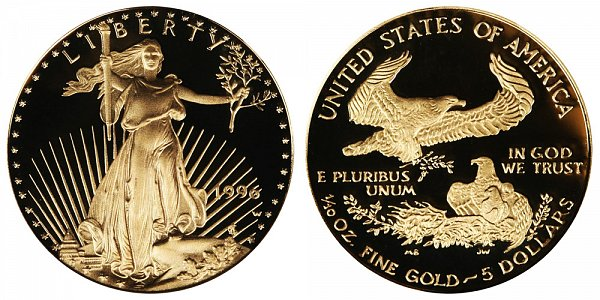 1996 W Proof Tenth Ounce American Gold Eagle - 1/10 oz Gold $5