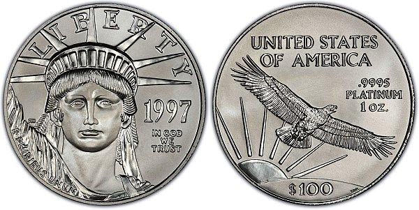 1997 One Ounce American Platinum Eagle - 1 oz Platinum $100