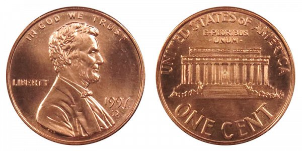 1997 D Lincoln Memorial Cent Penny