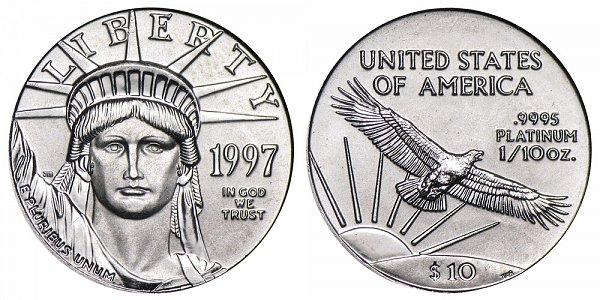 1997 Tenth Ounce American Platinum Eagle - 1/10 oz Platinum $10