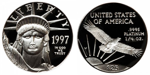 1997 W Proof Quarter Ounce American Platinum Eagle - 1/4 oz Platinum $25