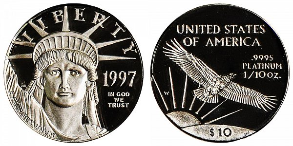 1997 W Proof Tenth Ounce American Platinum Eagle - 1/10 oz Platinum $10