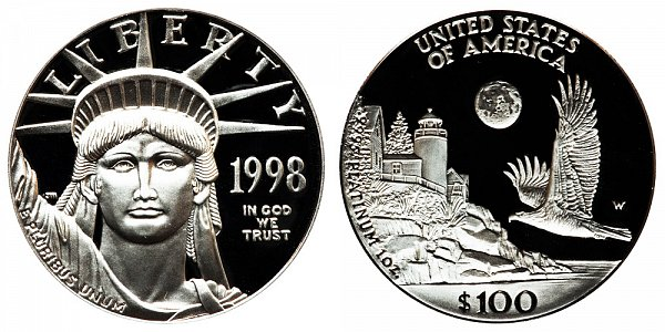 1998 W Proof One Ounce American Platinum Eagle - 1 oz Platinum $100