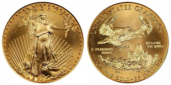 1998 Half Ounce American Gold Eagle - 1/2 oz Gold $25