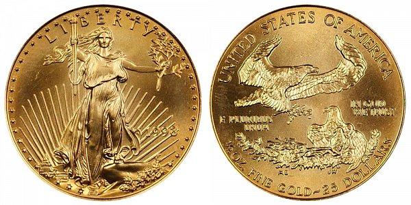 1998 Half Ounce American Gold Eagle - 1/2 oz Gold $25