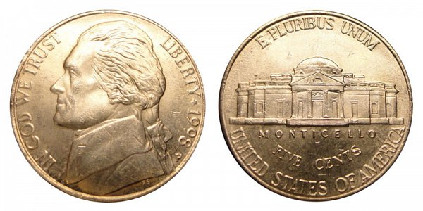 1998 P Jefferson Nickel