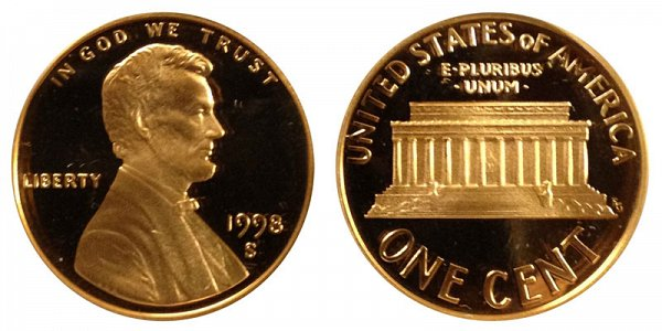 1998 S Close AM Lincoln Memorial Cent Penny Proof