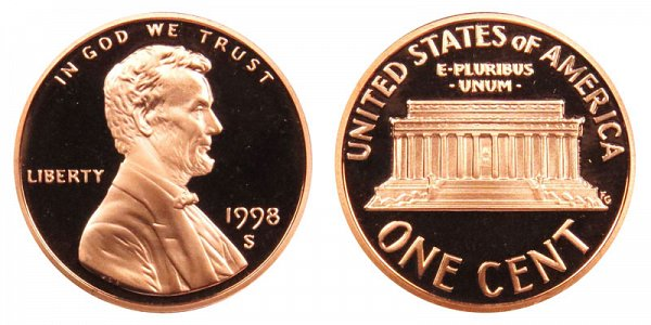 1998 S Lincoln Memorial Cent Penny Proof