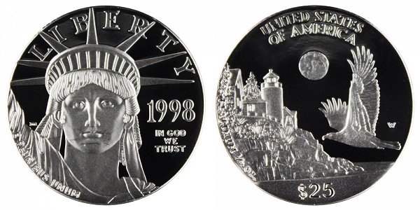 1998 W Proof Quarter Ounce American Platinum Eagle - 1/4 oz Platinum $25