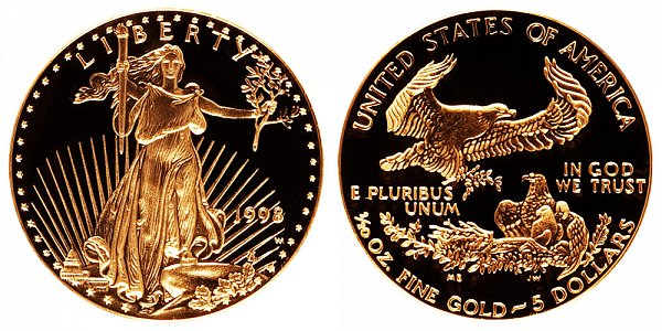 1998 W Proof Tenth Ounce American Gold Eagle - 1/10 oz Gold $5