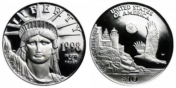 1998 W Proof Tenth Ounce American Platinum Eagle - 1/10 oz Platinum $10
