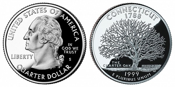 1999 S Silver Proof Connecticut State Quarter