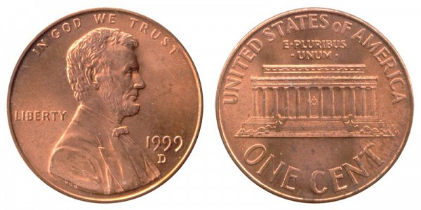 1999 D Lincoln Memorial Cent Penny