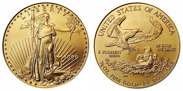1999 Half Ounce American Gold Eagle - 1/2 oz Gold $25