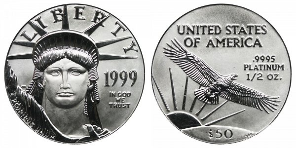 1999 Half Ounce American Platinum Eagle - 1/2 oz Platinum $50