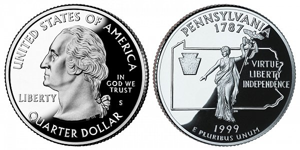 1999 S Silver Proof Pennsylvania State Quarter