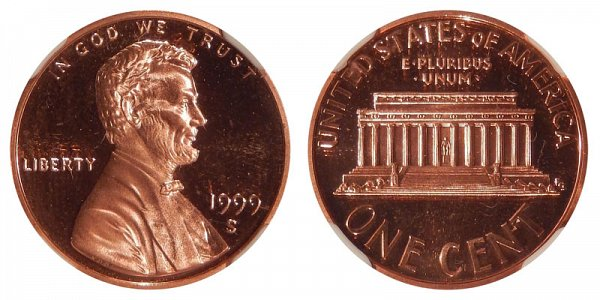 1999 S Close AM Lincoln Memorial Cent Penny Proof