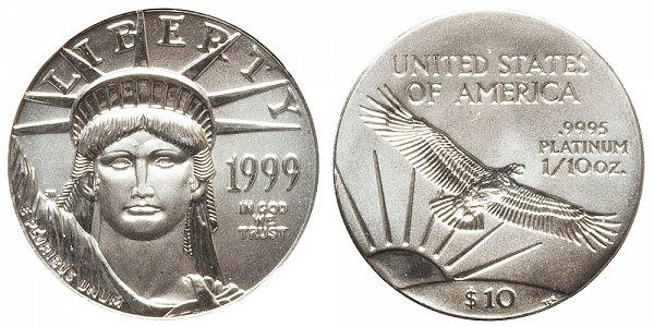 1999 Tenth Ounce American Platinum Eagle - 1/10 oz Platinum $10