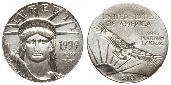 1999 Tenth Ounce American Platinum Eagle - 1/10 oz Platinum $10