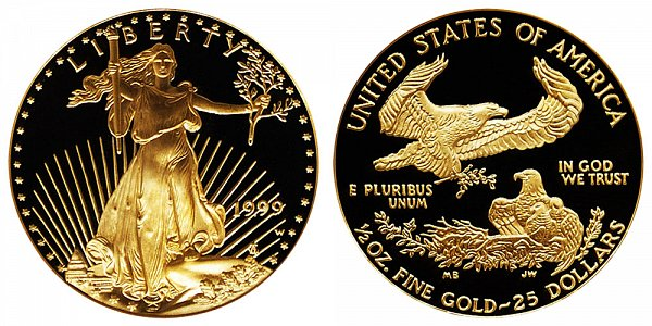 1999 W Proof Half Ounce American Gold Eagle - 1/2 oz Gold $25